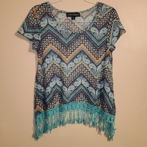 Short sleeve tassel top
